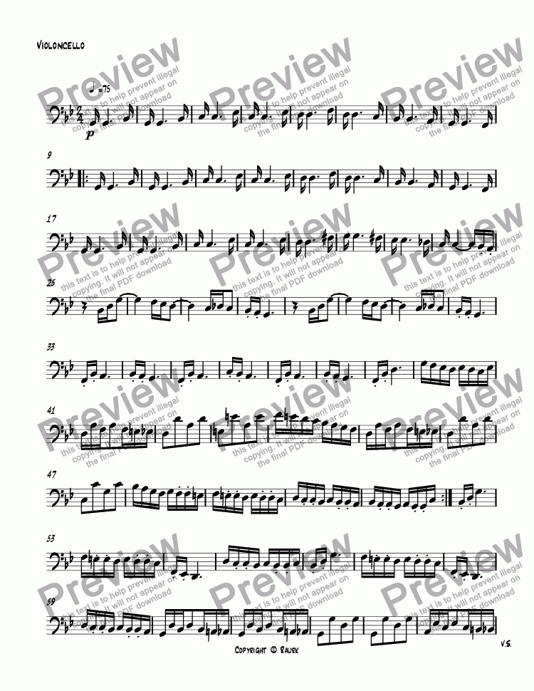 page one of the Violoncello part from String Quartet #1 3rd movement