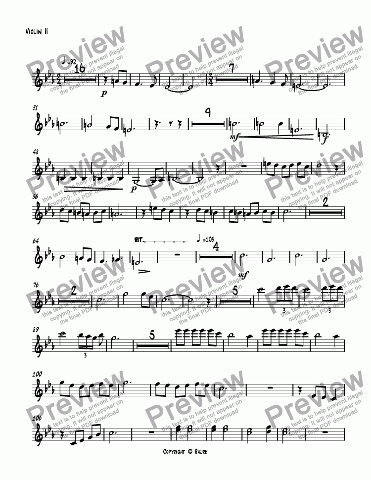 page one of the Violin II part from untitled
