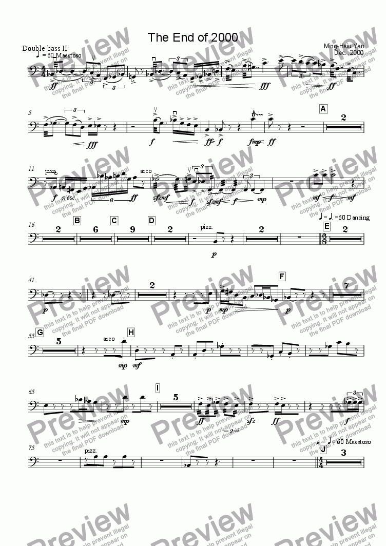 page one of the Double Bass II part from The End of 2000