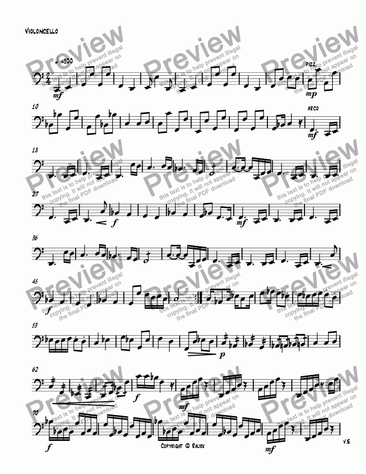 page one of the Violoncello part from untitled