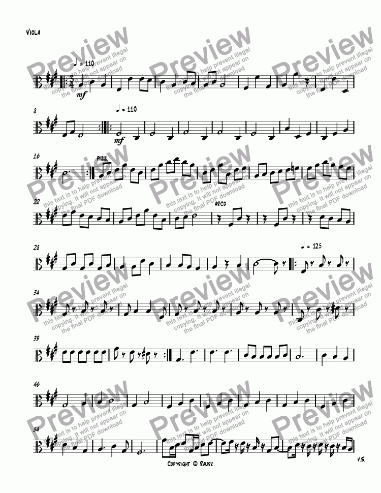 page one of the Viola part from SQ #4 II Minuet & Trio, Op. 245