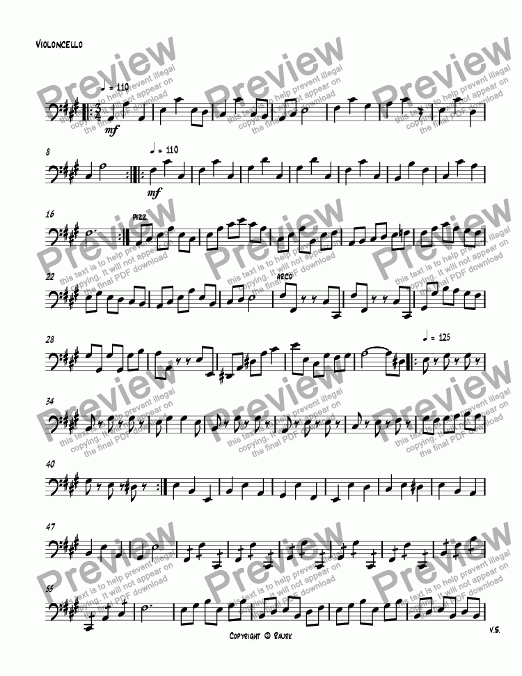 page one of the Violoncello part from SQ #4 II Minuet & Trio, Op. 245
