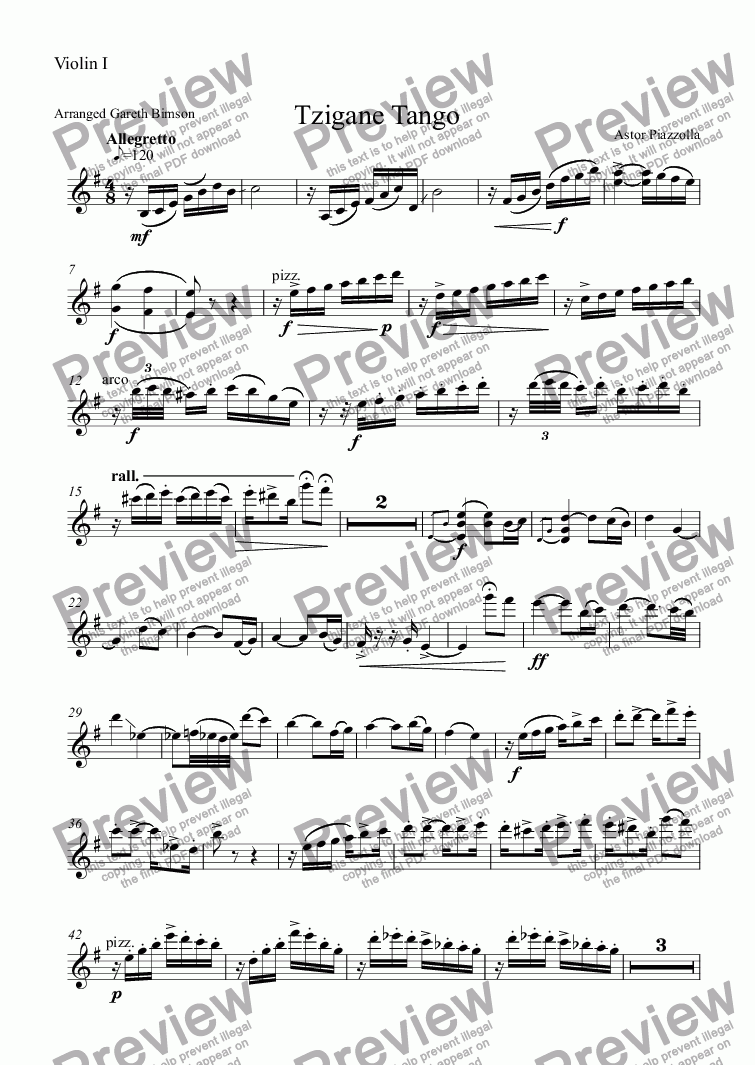 page one of the Violin I part from Tzigane Tango