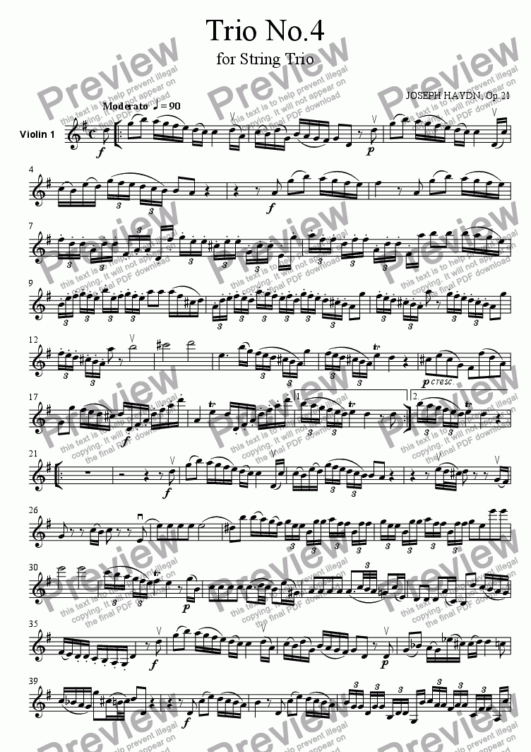 page one of the Violin 1 part from Trio No.4
