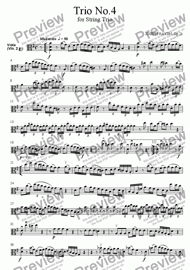 page one of the Viola part from Trio No.4