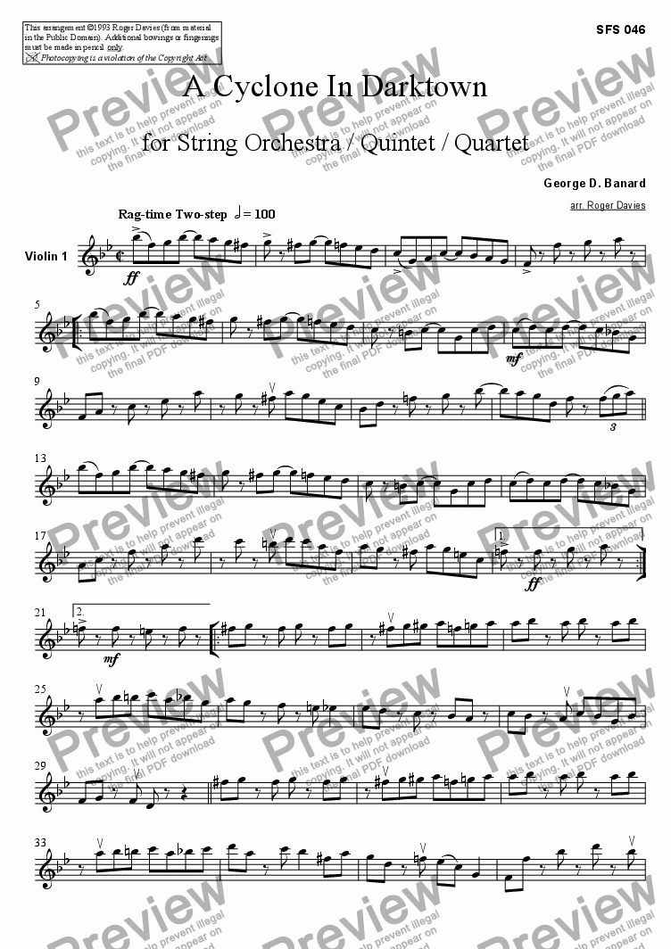 page one of the Violin 1 part from A Cyclone in Darktown