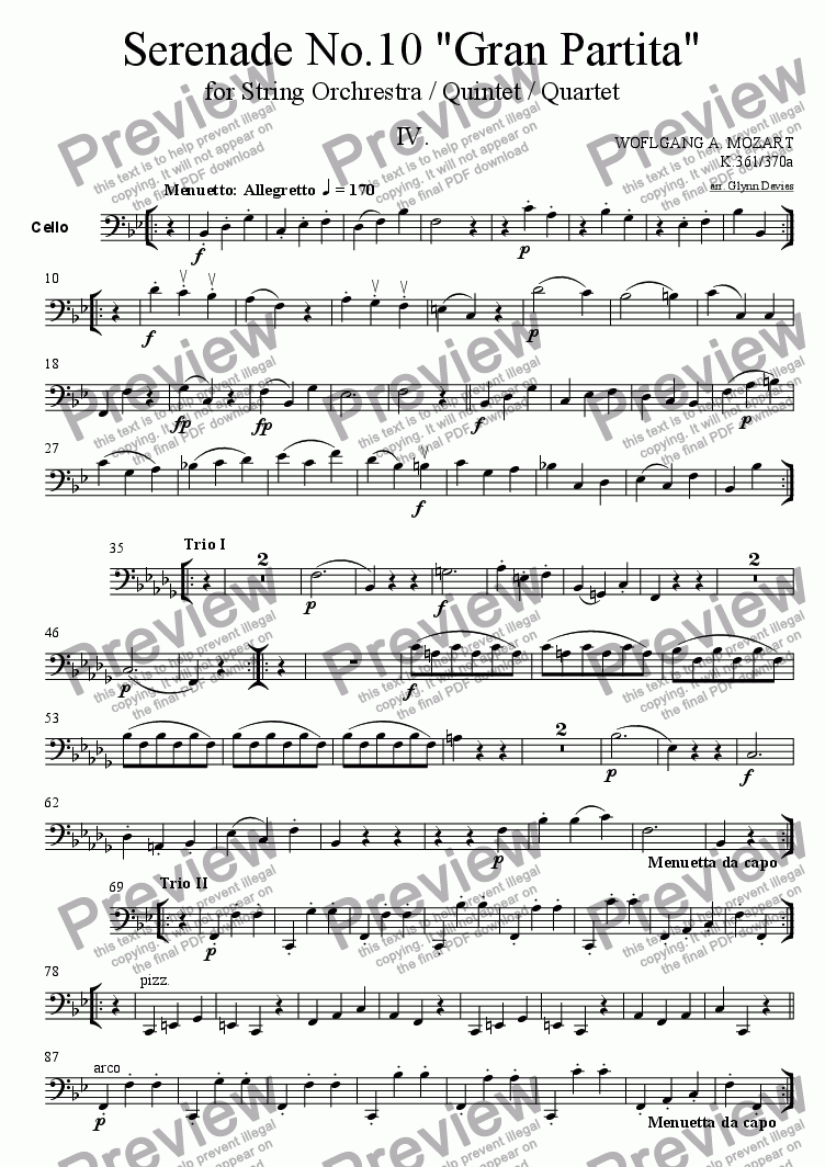 page one of the Cello part from Serenade No.10