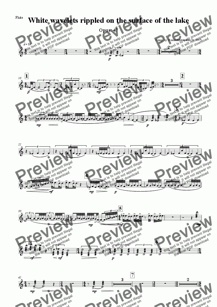 page one of the Flute part from White wavelets rippled on the surface of the lake
