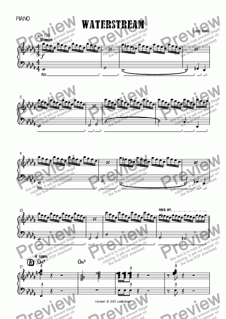 page one of the Piano part from Waterstream