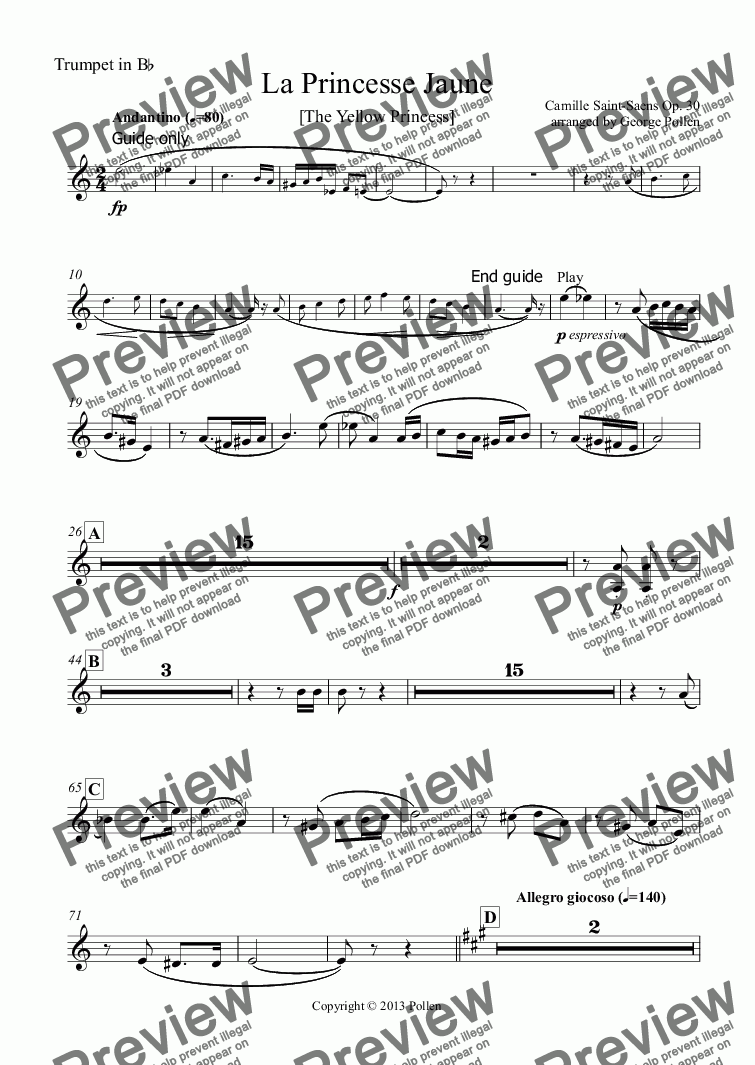 page one of the Trumpet in Bb part from La Princesse Jaune [The Yellow Princess](CB)