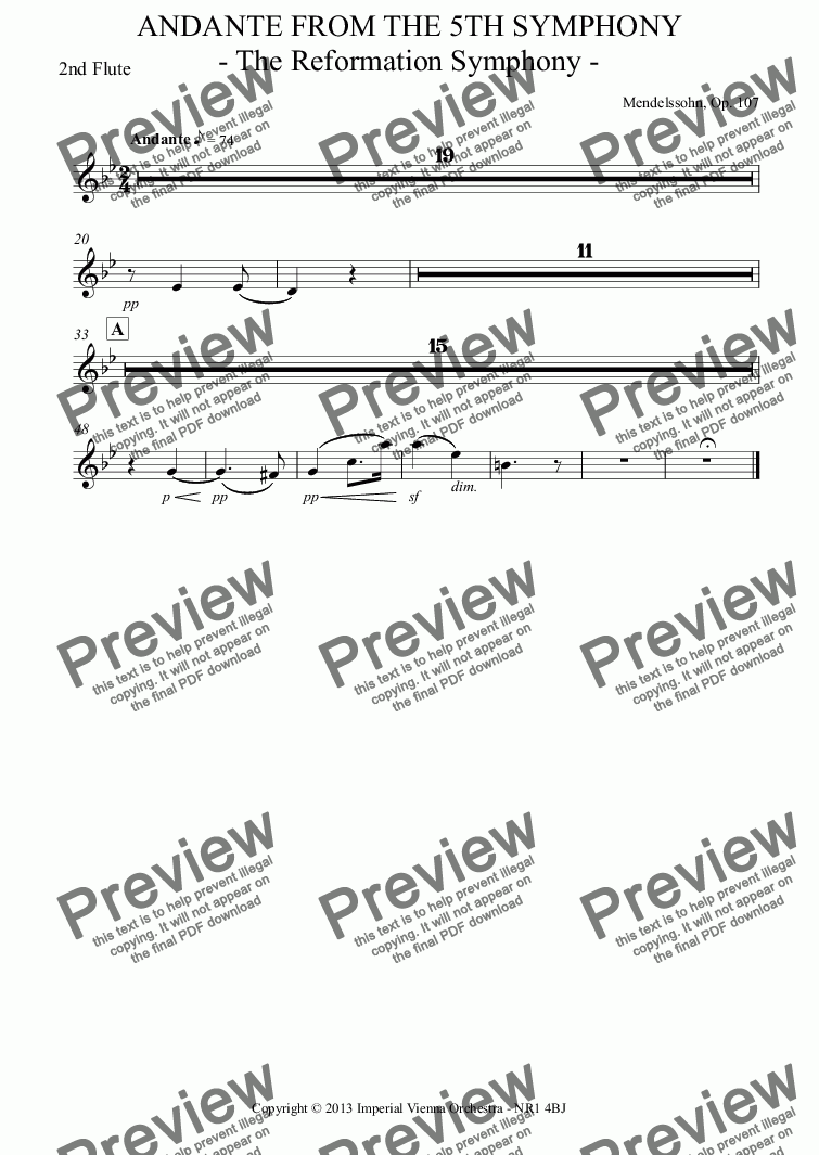 page one of the 2nd Flute part from Andante From The 5TH Symphony  - The Reformation Symphony -