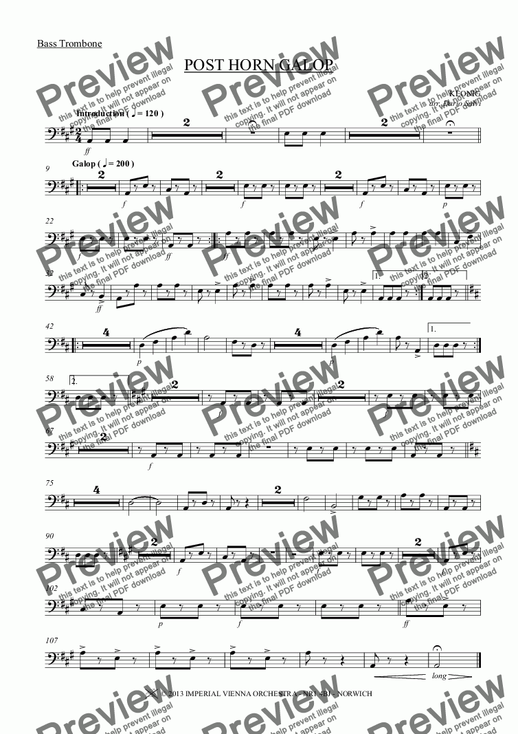 page one of the Bass Trombone part from POST HORN GALOP