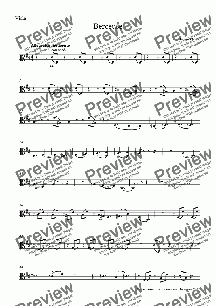 page one of the Viola part from Faure Berceuse for Violin and Strings