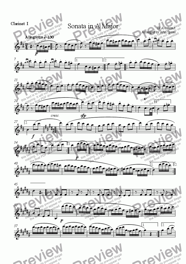 page one of the Player I part from Sonata in A Major