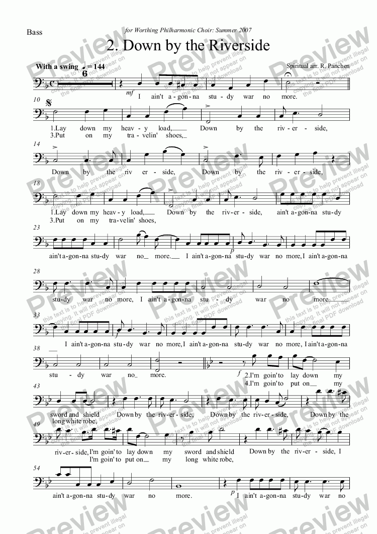 page one of the Bass part from Down by the Riverside