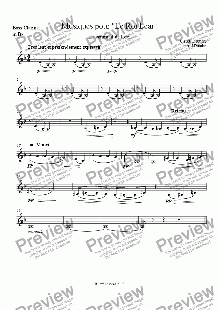 page one of the Bass Clarinet part from Le Sommeil de Lear