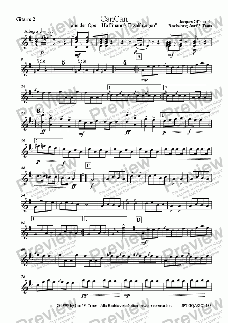 page one of the Gitarre 2 part from CanCan (GQA/Sore & Parts)
