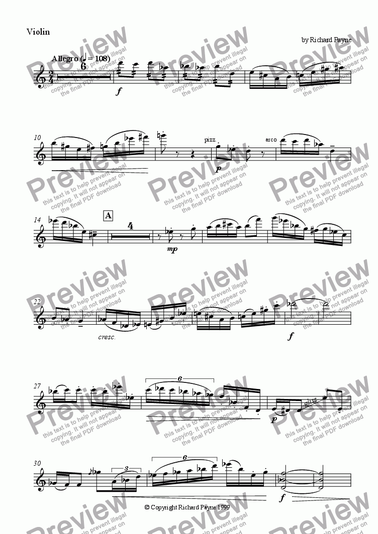 page one of the Violin part from Scherzo for Violin & Piano