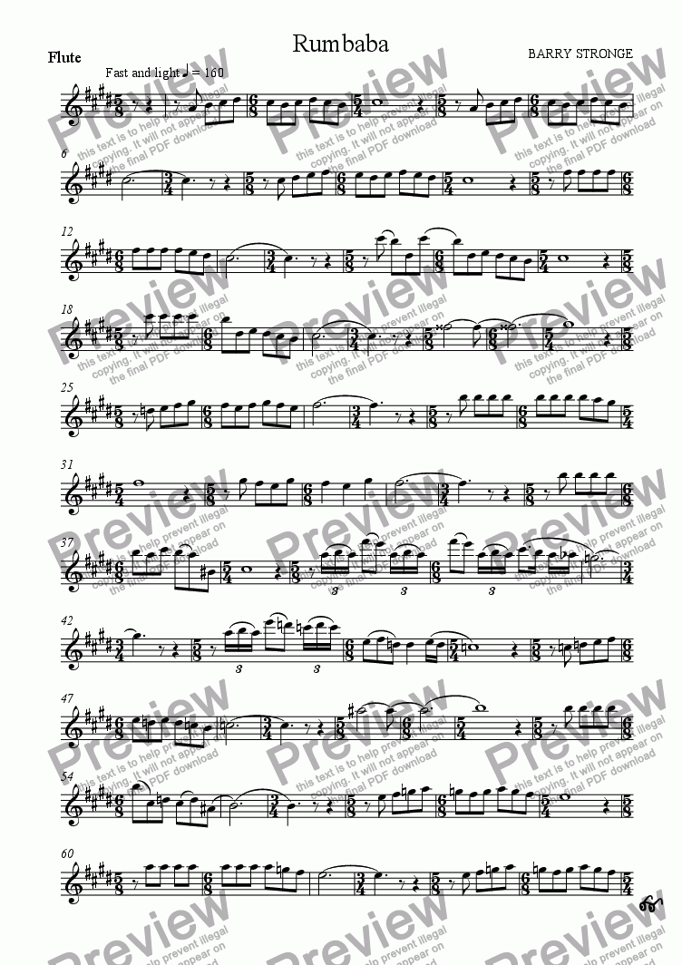 page one of the Flute part from Rumbaba
