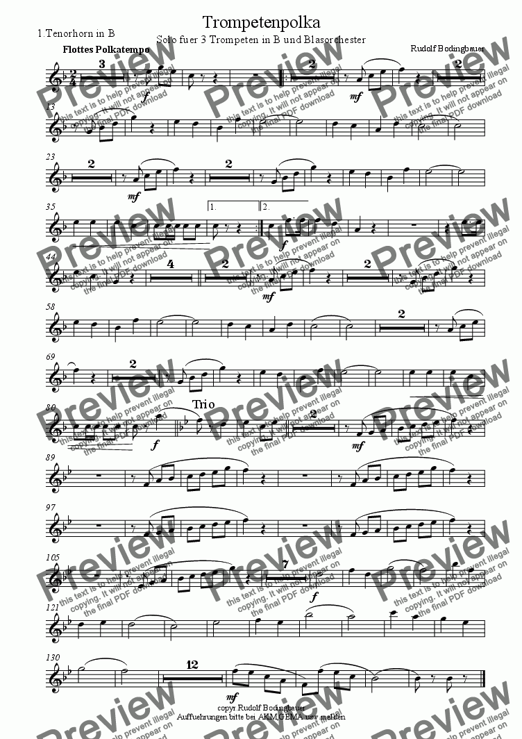 page one of the 1.Tenorhorn part from Trompetenpolka