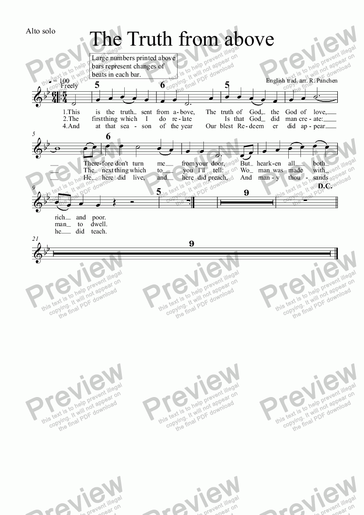page one of the Alto solo part from The Truth from above