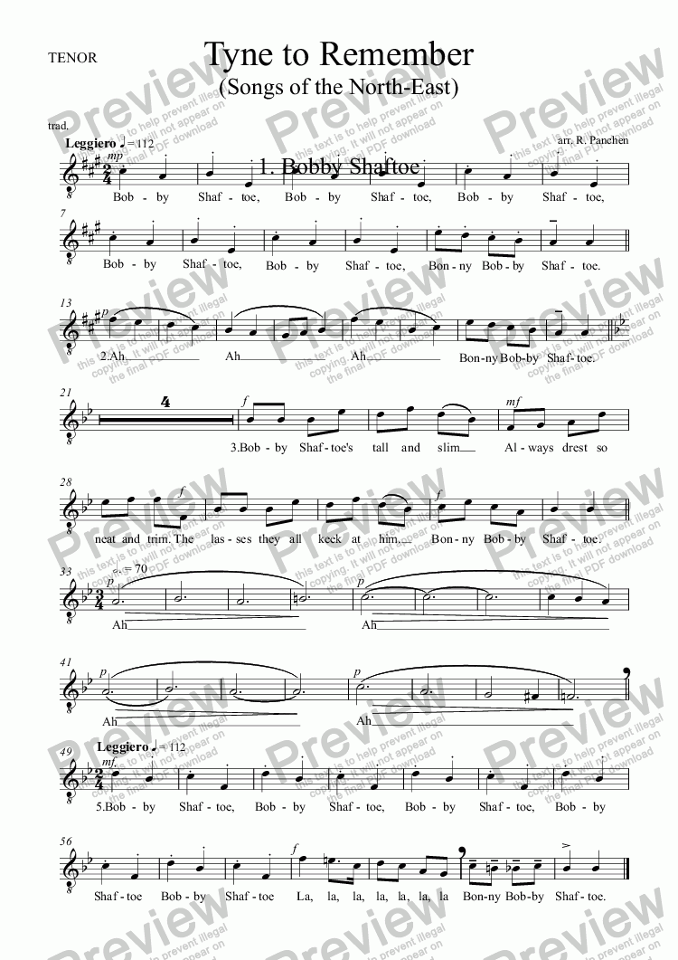 page one of the TENOR part from Tyne to Remember: 1. Bobby Shaftoe
