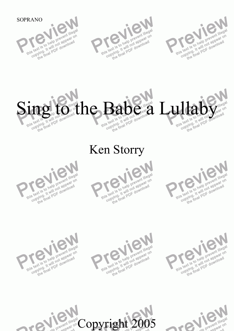 page one of the SOPRANO part from Sing to the Babe a Lullaby