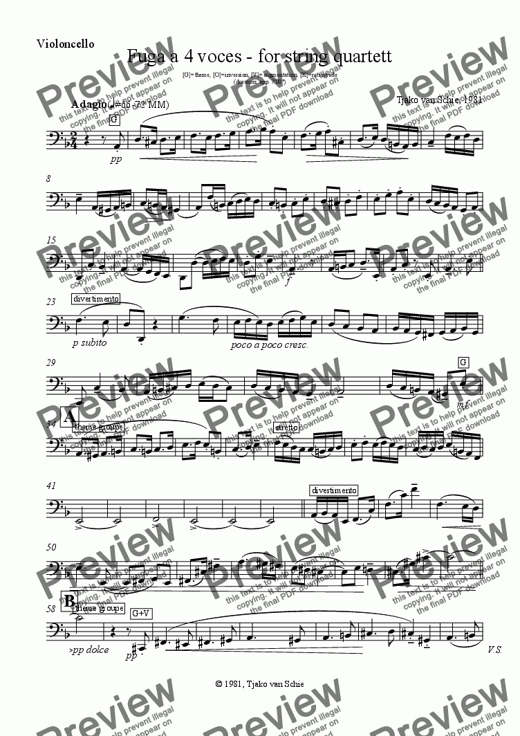 page one of the Violoncello part from Fuga a 4 voces - for string quartett