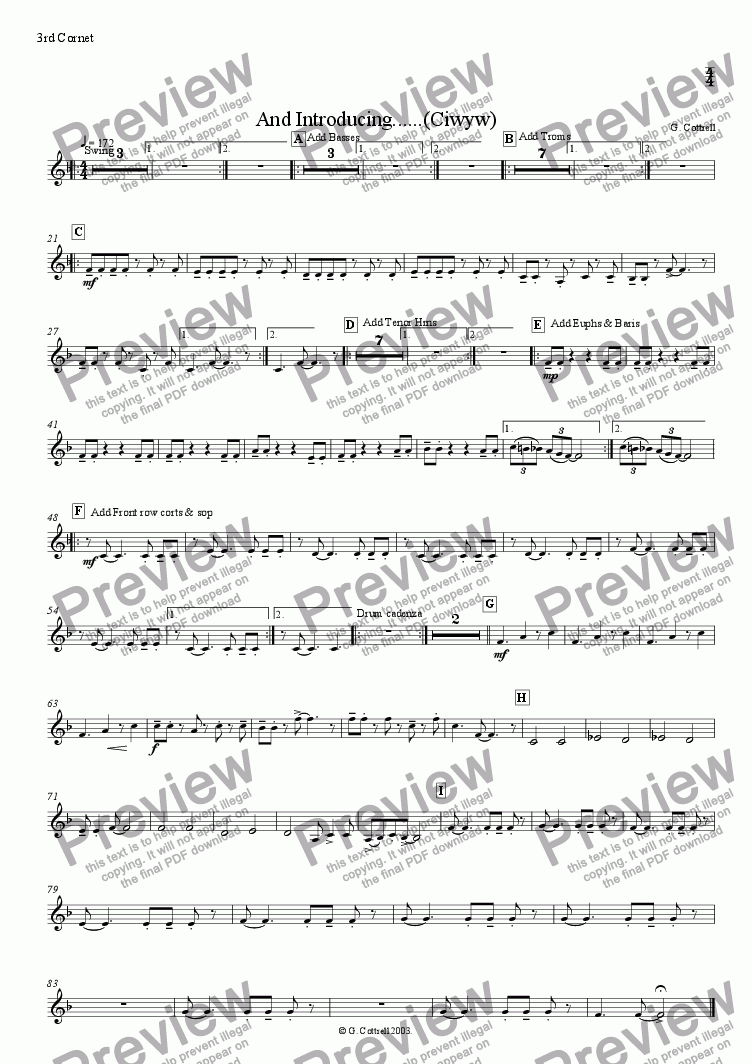 page one of the 3rd Cornet part from And Introducing......(Ciwyw)