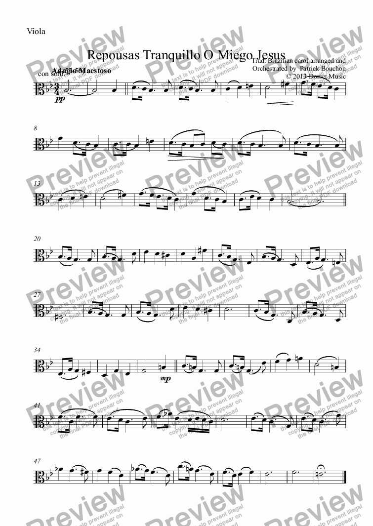 page one of the Viola part from Repousas Tranquillo O Miego Jesus