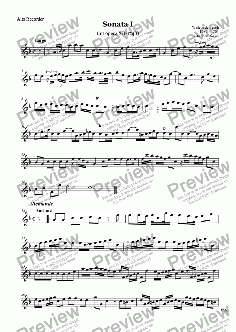 page one of the Flute 2 part from Triosonata I (de Fesch)