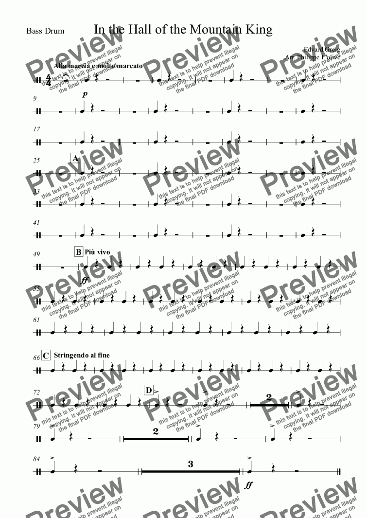 page one of the Bass Drum part from In the Hall of the Mountain King from Peer Gynt