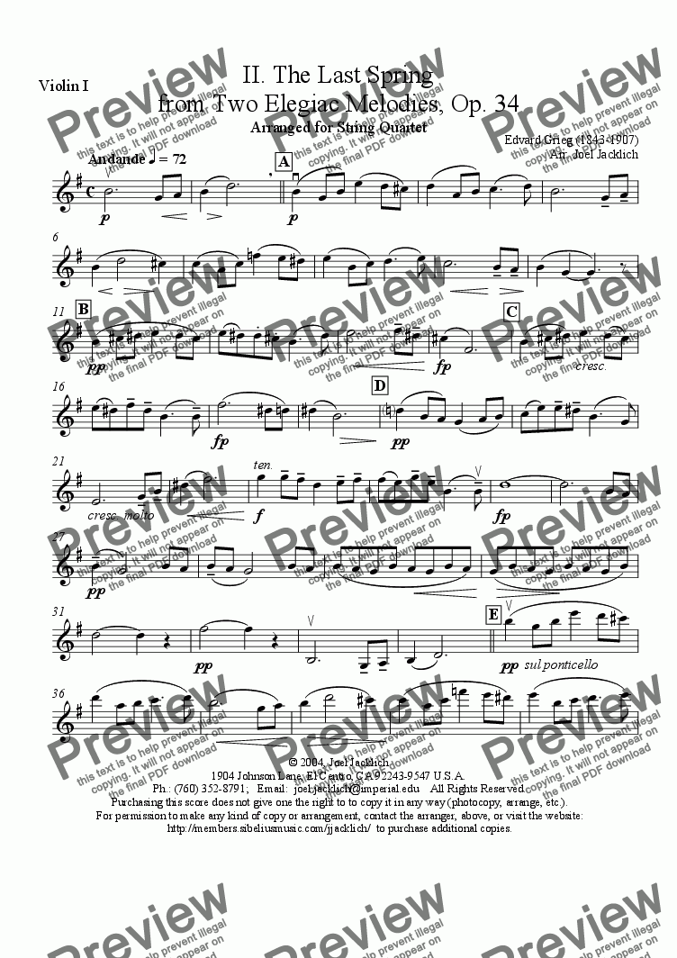 page one of the Violin I part from Two Elegiac Melodies, Op. 34, No. 2, The Last Spring