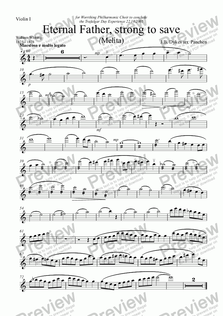 page one of the Violin I part from Eternal Father