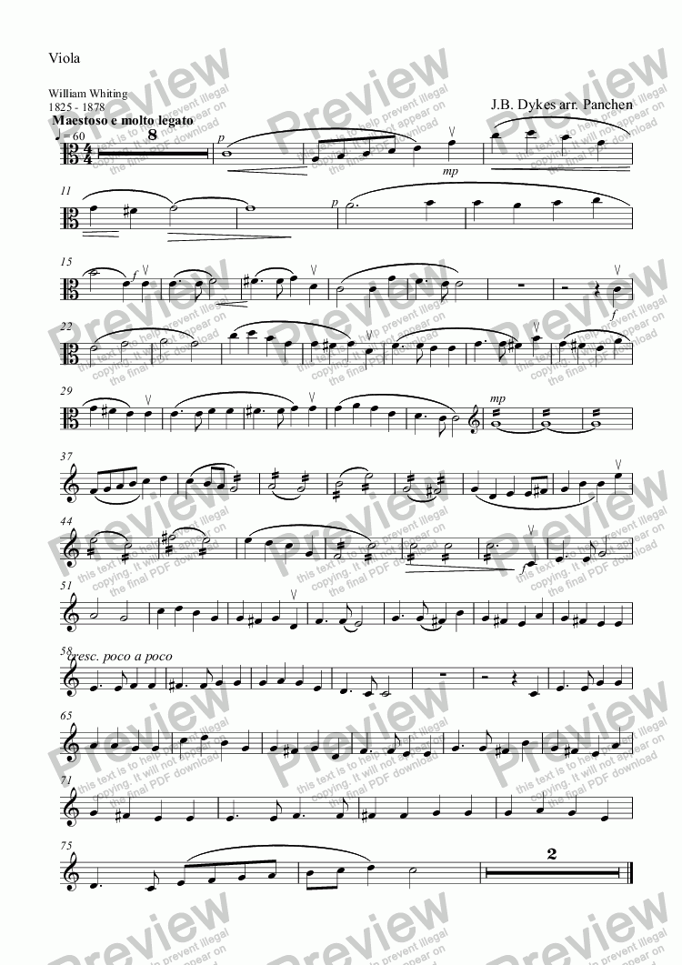 page one of the Viola part from Eternal Father