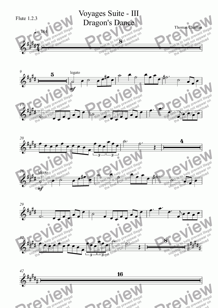 page one of the Flute 1.2.3 part from Voyages Suite - III Dragon's Dance