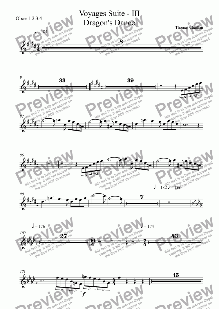 page one of the Oboe 1.2.3.4 part from Voyages Suite - III Dragon's Dance
