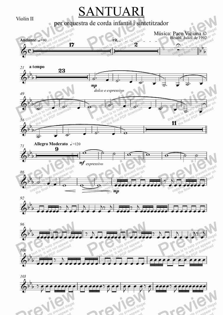 page one of the Violin II part from 043-Santuari
