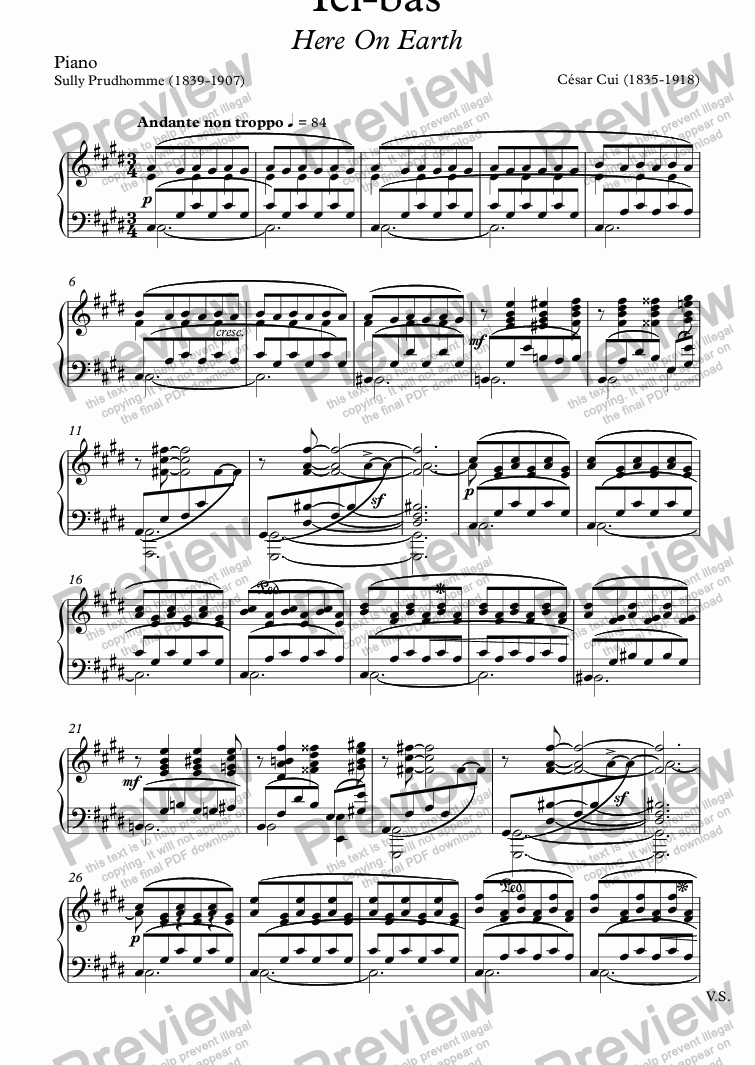 page one of the Piano part from Ici-bas (C. Cui / Sully Prudhomme)