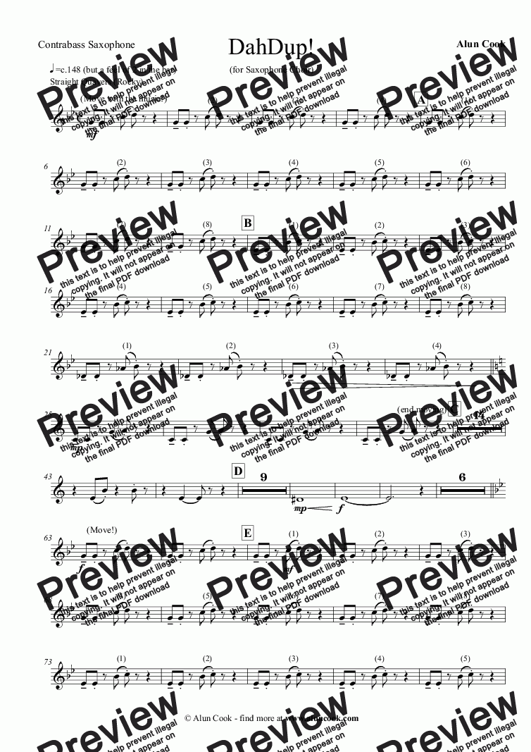 page one of the Contrabass Saxophone part from DahDup! (Saxophone Choir)