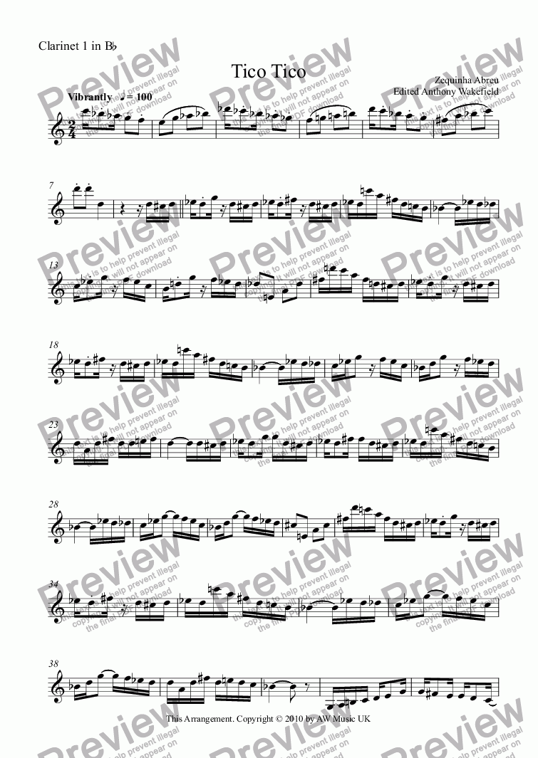page one of the Clarinet 1 part from Tico Tico (Two Bbs and one Bass Clarinet)