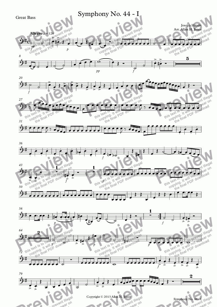 page one of the Great Bass part from Haydn Sym No. 44 I Allegro - Recorder