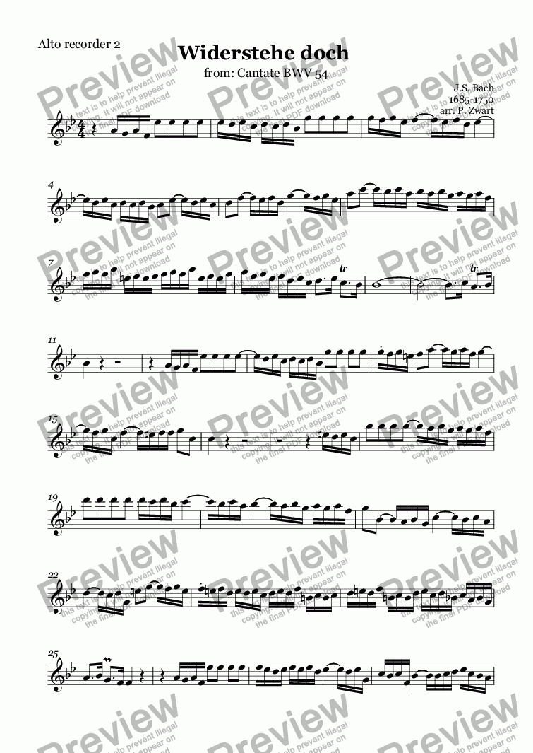 page one of the Alto recorder 2 part from Widerstehe doch (Bach)