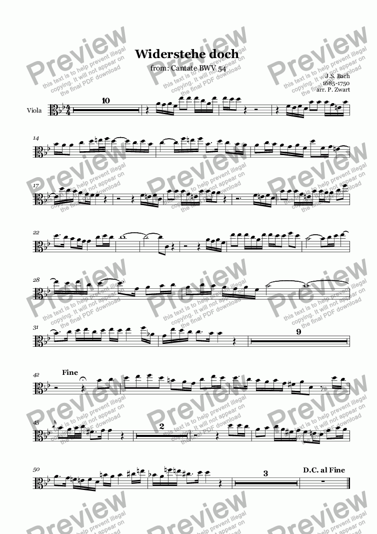 page one of the Viola part from Widerstehe doch (Bach)