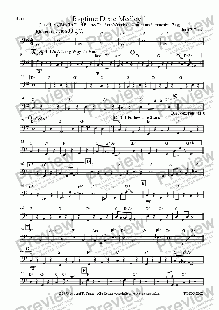 page one of the Bass part from Ragtime Dixie Medley 1 (JCO/Score & Parts)