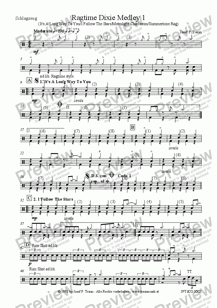 page one of the Schlagzeug part from Ragtime Dixie Medley 1 (JCO/Score & Parts)
