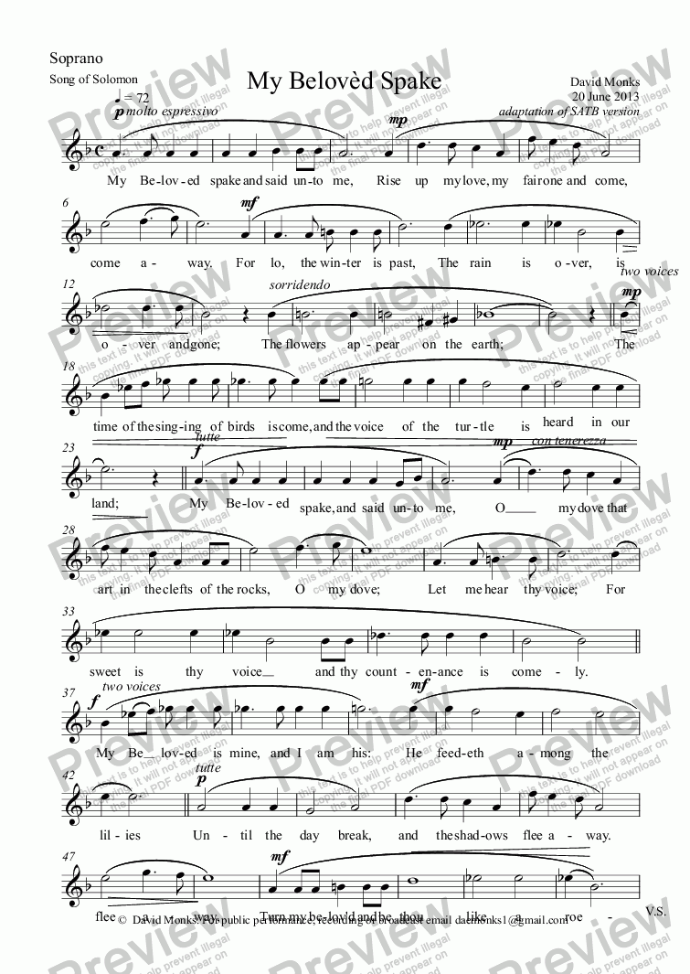 page one of the Soprano part from My Belovèd Spake SSAA