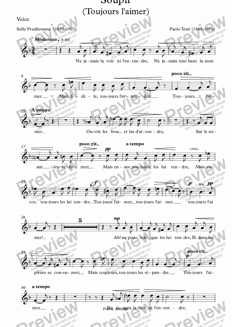 page one of the Voice part from Soupir (P. Tosti / Sully Prudhomme))