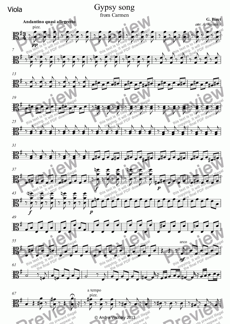 page one of the Viola part from Gypsy song from Carmen