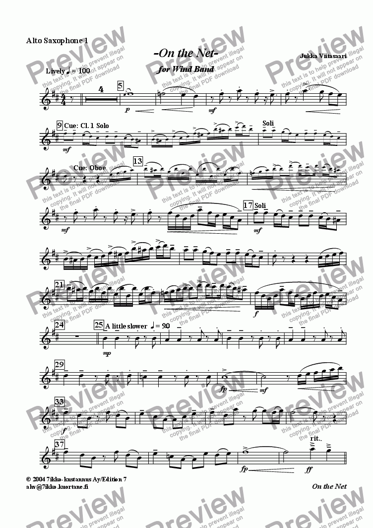 page one of the Alto Sax. 1 part from On the Net (for wind band)